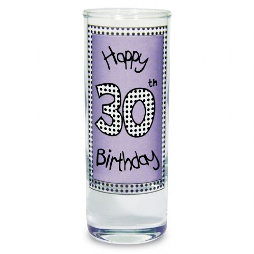 Lilac 30th Happy Birthday Shot Glass - 30th Birthday gift idea